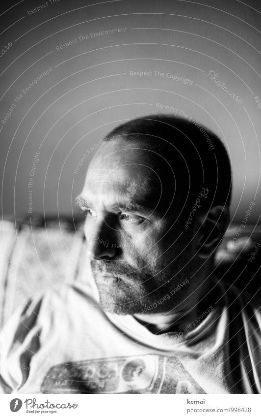 Human being Man Calm Dark Adults Life Sadness Emotions Think Head Lifestyle Masculine Flat (apartment) Meditative Living or residing Sit