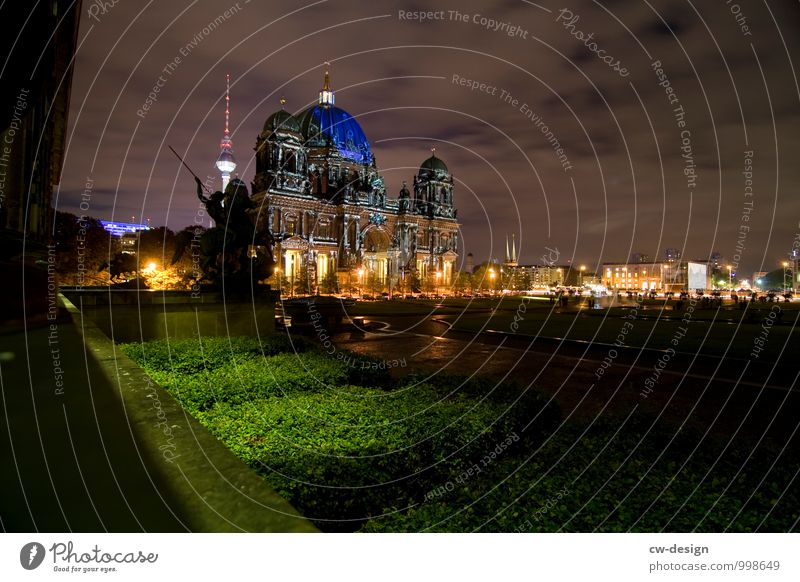 Berlin at night Vacation & Travel Tourism Sightseeing City trip Town Capital city Downtown Skyline Dome Park City hall Tower Manmade structures Building