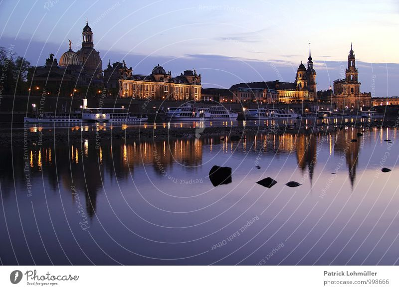 Dresden at dusk Architecture Environment Water Sky River bank Germany Europe Capital city Downtown Old town Skyline Church Manmade structures Building Terrace