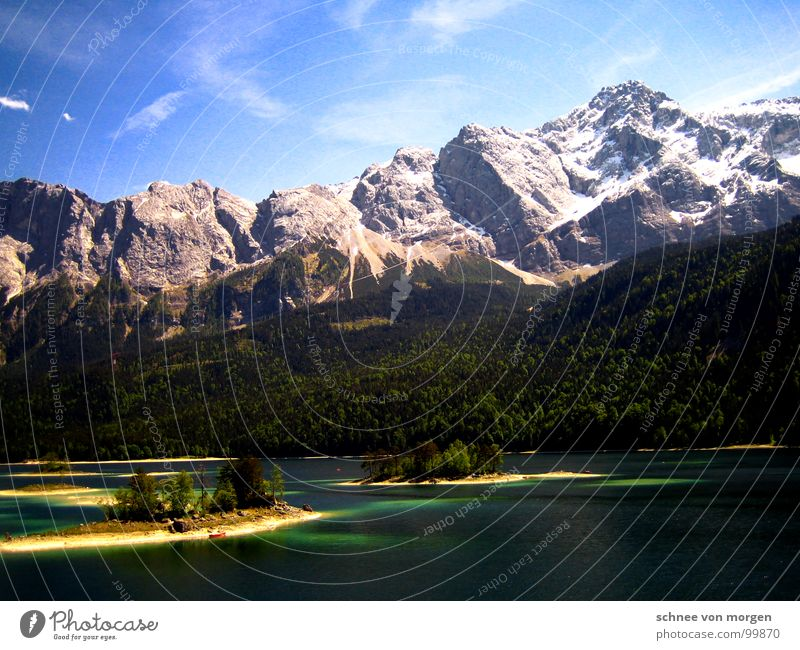 World of health Eib Lake Mountain range Summer Turquoise Clouds Forest Tree Mountain lake Zugspitze Panorama (View) Water Blue Sky Island Tall Large