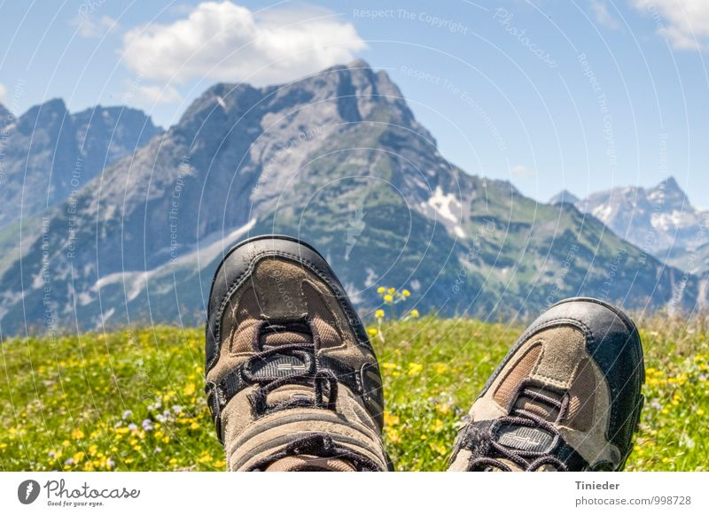 Deserved rest Calm Leisure and hobbies Trip Summer Mountain Hiking Sports Climbing Mountaineering Feet Hiking boots To enjoy Adventure Relaxation Experience