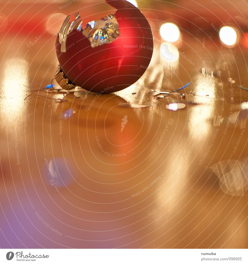 Shards bring luck Christmas & Advent Culture Decoration Glass Sign Glittering Broken Red Lose Sphere Glitter Ball Light Fall down Jewellery Adorned Colour photo
