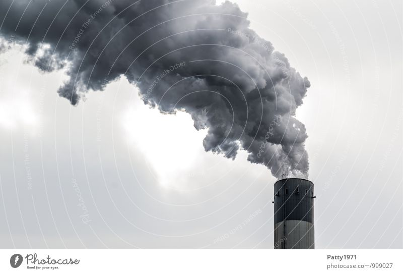 Dark Energy industry Dirty Gloomy Threat Industry Smoking Exhaust gas Chimney Climate change Environmental pollution Industrial plant Steam Coal power station