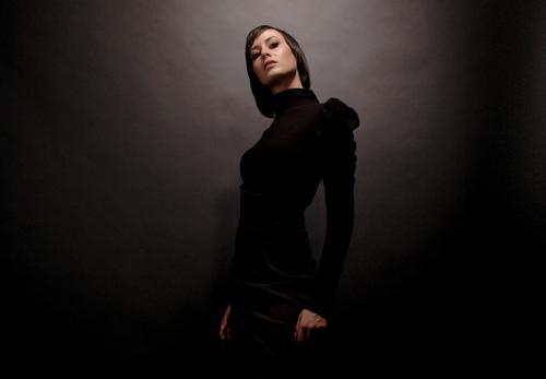 gschpænli 02 Woman Young woman Beauty Photography Lady Model Beautiful Glamor Arrogant Easygoing Elegant Dark Black Light Shaft of light Glittering Studio shot
