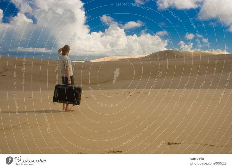 Human being Sky Man Vacation & Travel Summer Ocean Clouds Sand Earth Walking Desert Beach dune Fatigue Suitcase Doomed Dessert
