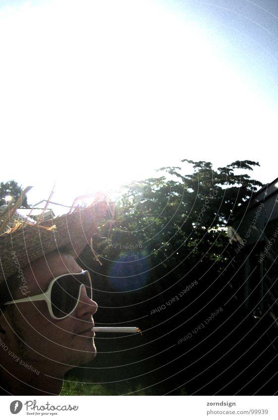 Man Sun Summer Relaxation Smoking Smoke Cologne Sunglasses Sunhat Straw hat