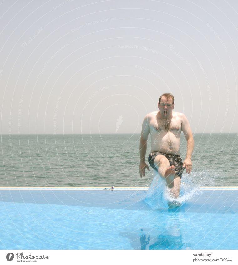 Man Blue Water Vacation & Travel Summer Ocean Beach Joy Playing Coast Jump Horizon Brown Swimming & Bathing Wet Swimming pool