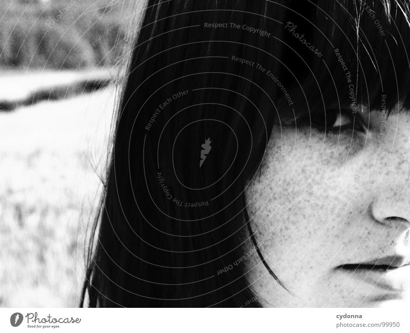 summer breeze Self portrait Woman Identity Uniqueness Light Think Dark Silhouette Freckles Field Summer Black & white photo Human being Face Looking Contrast