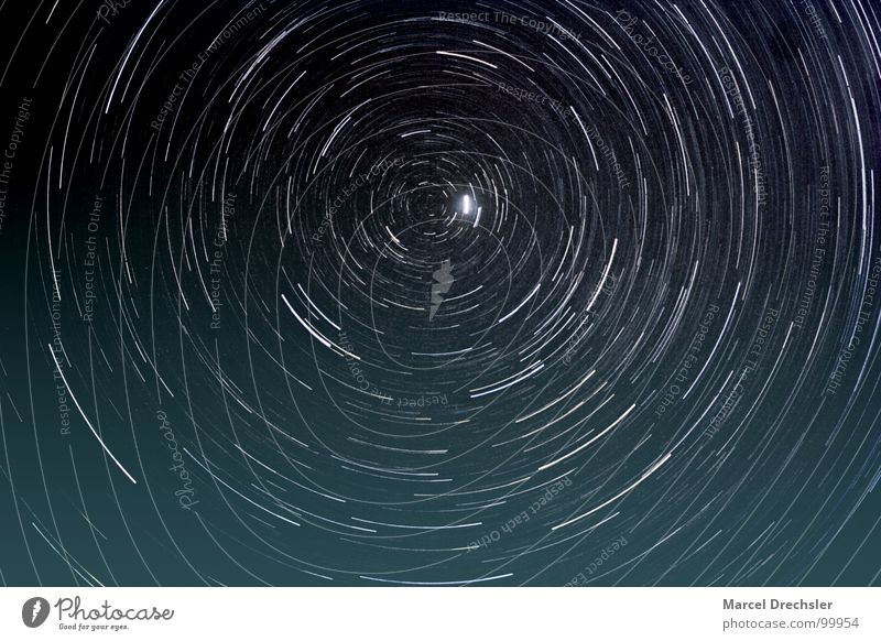 Polaris Polar star Night Black White Long exposure Middle Celestial bodies and the universe star circles Universe Circle polaris celestial pole North Pole
