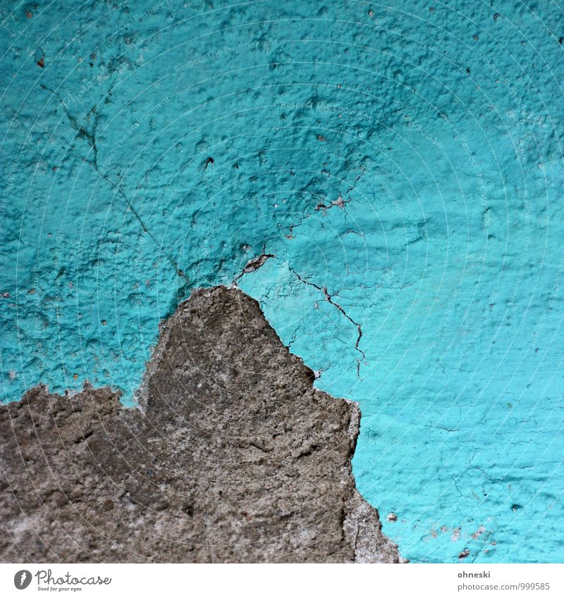 mountain Wall (barrier) Wall (building) Facade Plaster Rendered facade Stone Blue Turquoise Crack & Rip & Tear Colour photo Exterior shot Abstract
