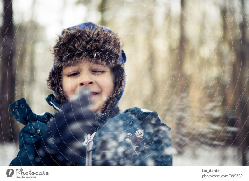 Human being Child Nature Vacation & Travel Winter Forest Environment Snow Playing Head Masculine Snowfall Infancy Happiness Trip Beautiful weather