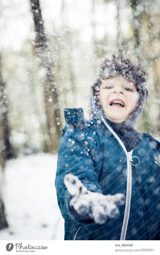 Human being Child Beautiful Joy Winter Forest Snow Playing Happy Freedom Family & Relations Masculine Snowfall Contentment Infancy Happiness