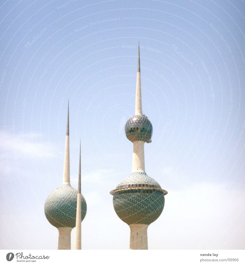 Kuwait Towers Art Sheik Arabia Transmitting station Near and Middle East Round Clouds Summer Landmark Futurism Water tower Sky Monument Modern Desert Kuwaiti