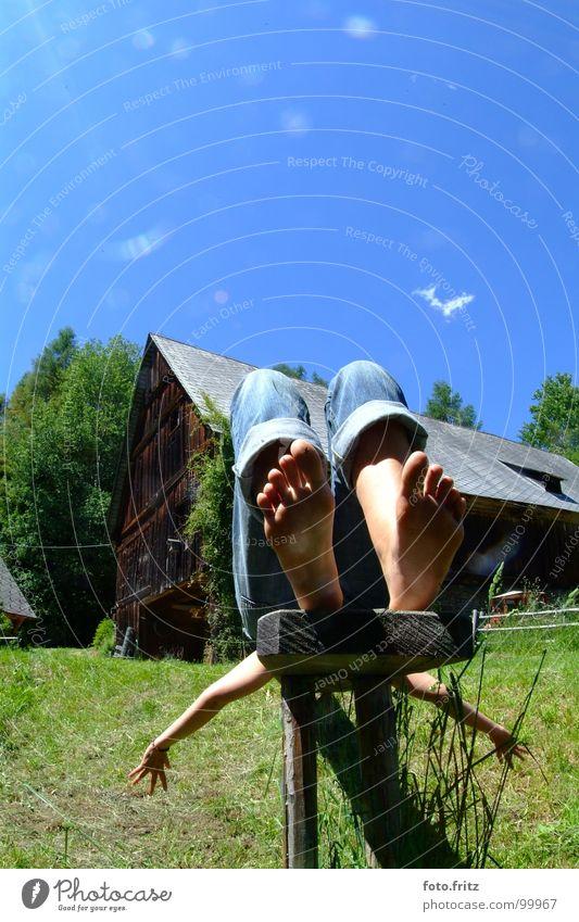 Woman Sky Green Blue Summer Vacation & Travel Calm Clouds Life Relaxation Jump Garden Dream Feet Park Power