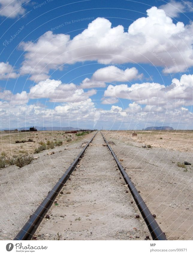Sky Loneliness Clouds Lanes & trails Sand Energy industry Power Empty Beginning Railroad Hope Grief Desert Derelict Brave Railroad tracks