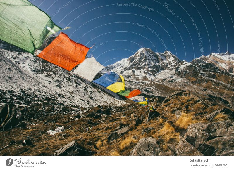 Prayer Flags in the mountains Nature Landscape Cloudless sky Wind Rock Mountain Glacier Sign Flying Gigantic Nepal Himalayas Travel photography Annapurna