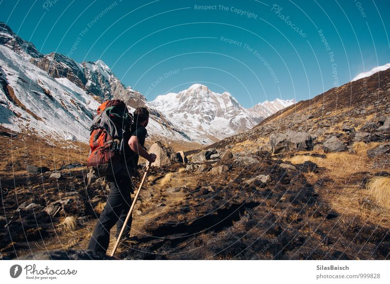 Wanderlust Human being Nature Vacation & Travel Man Landscape Far-off places Environment Adults Mountain Freedom Ice Weather Wild Tourism Hiking Happiness