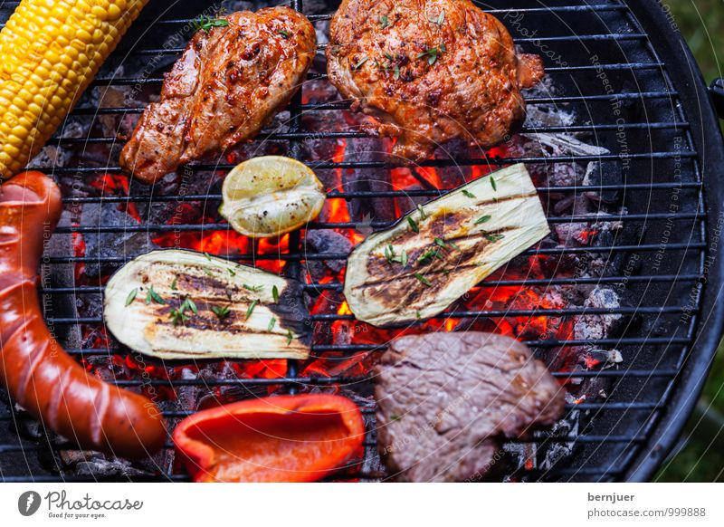 Grill seen from above Food Meat Sausage Vegetable Dinner Summer Barbecue (apparatus) Good Hot Above supervision Beef Pork Coal Embers Charcoal (cooking) Lemon